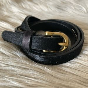 Fossil Cowhide Leather Black Calf Hair Belt